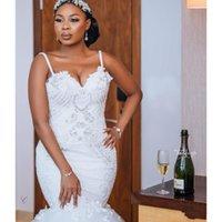 Modest African Plus Size Abiti da sposa 2021 Robe de Mariee Mermaid Abiti da sposa Sexy Open Back Bead Pizzo Abito da sposa fatto a mano