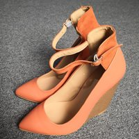 Handmade Womens Real Photos Wedge Heels Dress Shoes Buckle Ankle Strap Evening Party Prom Fashion Daily Wear Court Pumps D536