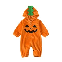 Jumpsuits Baby Boy Girl Halloween Pumpkin Romper 3-24M Infant Toddler Holiday Festival Costume Fleece Long Sleeve Hooded Jumpsuit Outfits