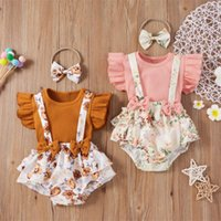 Clothing Sets Infant Kids Baby Girls 3PCS Clothes Floral Printed Knitted Crop Tops Suspenders Shorts Headband Outfit Set Summer