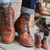 Men Vintage PU Leather Boots Retro Motocycle Shoes Ankle Lace Up Boots British Military Boots Autumn Winter Lace Up Shoes New