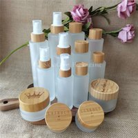 Storage Bottles & Jars Custom Logo Empty Bamboo Frosted Glass Flat Shoulder Spray Cosmetic Container Packaging Makeup