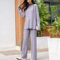 High quality spring mesh fall 2 female casual ensemble sweater top+ leg loose pants combined women's clothing suit