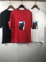 Модный мужской дизайнер футболка летние мужчины женские пары кошка печати с коротким рукавом роскошь женские TEE 3 цвета размера S-XL