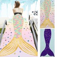 Mermaid Cauda Beach Towel Retângulo Microfiber Tapetes Coberturas Cartoon Beach Cobertor Macio Banheira Casa Toda 150 * 75 cm Adultos Toalhas de banho RRD7249
