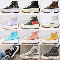 Converse Hombres Run Star Hike Mujer Zapatos Casuales Leopardo Naranja Negro Amarillo Blanco Alto Top Top Estrellas Classic Thick Bott Bofet Lienzo Tamaño 36-41 E8HX #