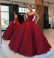 glaring Long Evening Dresses with pockets 2021 sweetheart Puffy Ball Gowns Glitter Burgundy Arabic Style Women Formal Gown