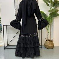 Kadın Müslüman Boncuk Açık Kimono Abaya Hırka Nidha Katmanlı Mesh Dubai Türkiye Mütevazı Dış Giyim Arap İslam Başörtüsü Elbise Siyah Etnik Giyim