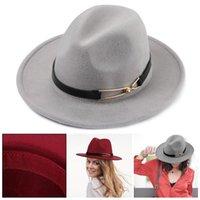 Stingy Brim Hats Women Fedora Felt Trilby Jazz Cap Sun Hat Top Wide