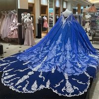 Glitter Royal Blue Court Train Quinceanera Dresses Ball Gown Formal Prom Graduation Gowns With Cape Princess Sweet 15 16 Dress