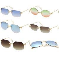 Venda por atacado vendendo estilo de moda óculos de sol sem raio quadrado delicado unisex metal 18k óculos de sol de ouro retângulo dirigindo c decoração uv400 marrom ou multi lente
