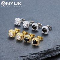Diseñador de lujo para hombre hombres mujeres Hip Hop Stud Pendientes Joyería Moda Redonda Plata Plata Negro Diamante Pendientes Oreos Anillos 1127 Q2