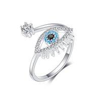 الكلاسيكية مكعب زركون عصابة العين للنساء للتعديل الشر العين مفتوحة خاتم الخطوبة الزفاف الإناث بوهيميا مجوهرات هدية
