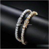 Drop Delivery 2021 Hip Hop Tennis Diamonds Chain Bracelets For Men Fashion Luxury Copper Zircons Bracelet 7 8 Inches Golden Sier Chains Jewel