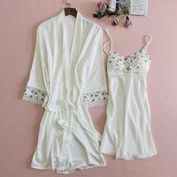 Women's Sleepwear Satin Lace Kimono Bath Gown Sexy V-Neck Nightgown Wedding Robe Suit Bridal Loose Casual Home Wear 2021 Nightwear