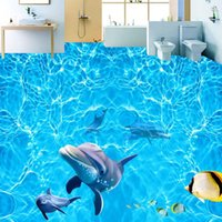 Anti Wear Floor Stickers Mural Sea Water Ripples Dolphin Po Wallpaper Bathroom Waterproof PVC Self Adhesive Flooring 3D Wallpapers