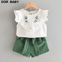 Girls Clothing Set 2021 Summer Fashion Flower Embroidery Butterfly Sleeve Top Short Pant +Bow Belt Casual 2PCS Suit For Kid 3-7Y Sets