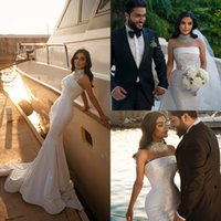 Luxurious High Neck Mermaid Wedding Dresses With Detachable Train Beaded Crystals Lace Sequined Bridal Gowns Robe de mariée