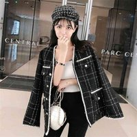 Fall Winter Coat Fashion Plaid Women's Wool Blends Jacket Single Breasted Tweed Small Fragrance Black Outerwear 210514