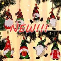 Dekorationen Farbe Holz Anhänger Haus Auto Weihnachtsbaum Gesichtslose alte Mann Rudolph Muster Anhänger Indoor Party Dekoration Verkauf Großhandel