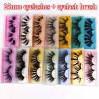 Pestañas falsas 3D 15 estilos con cepillo 25mm pestañas dramáticas espesas pestañas naturales wispy fluffy ojo herramientas de maquillaje DHL