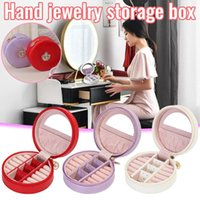 Portable Ring Earring Storage Box With Mirror Leather Jewelry Makeup Organizer Organizador De Maquillaje Boxes & Bins