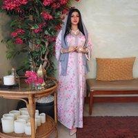 Ethnic Clothing Wepbel Dubai Robe Floral Printing Islamic Arab Muslim Dress Women Pink Long Abaya Turkey Kaftan