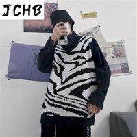 Streetwear Punk Gilet Femmes Hommes Hommes Topstrend Sous HIP-HOP Street Black and White Zebra Motif sans manches Pull tricoté Vesser Vestes pour hommes