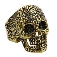 Anillos de racimo de la moda de la moda de la moda de la moda de los hombres anillo de cráneo para hombres de oro gótico gótico negro póker fiesta de roca ciclista de acero inoxidable joyería de regalo masculino