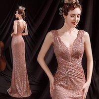Elegante rosafarbene gold pailletten lange abend kleider sexy v-ausschnitt backless prom party kleider a-line formale kleid frauen tragen 2021
