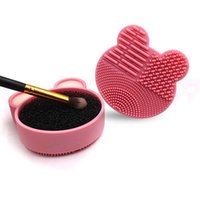 Makeup Brushes Bear Brush Cleaner Washing Pad Cleaning Mat Cosmetic Universal Make Up Tool Scrubber Box