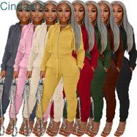 Women Tacksuits Two Pieces Set Designer Velvet Fabric Hoodie Zipper Jacket Pants Sweatshirt Leggings Solid Colour Leisure Suit 8 Colours