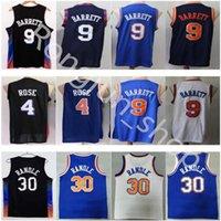 Stitched Basketball Jerseys 4 Derrick 9 RJ Rose Barrett 30 Julius Randle Retro Walt Frazier 10 Patrick Ewing Jersey High Quality Black City Blue White Man Size:S-XXL