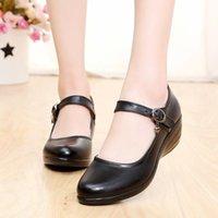 Dress Shoes Plus Size Wedges Mary Jane Ankle Strap Round Toe Fashion Women Female Pumps Wedding Party
