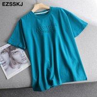 primavera verano mujeres básicas 3d letra camiseta casual suelto manga corta fondo caramelo color algodón camiseta femenina tops gruesos