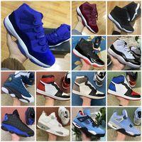 Cinza legal 1 11 homens sapatos de basquete fogo vermelho 4 1s sneakers criados 11s Low Gama Legenda Universidade Azul 4S Concord Space Space Jam 13s Black Gato Branco Cimento Mulheres UNC 13