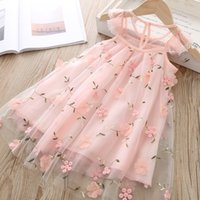 여자 디자이너 드레스 여름 패션 공주 드레스 아이 트렌드 통기성 레이스 메쉬 꽃 수 놓은 드레스 아동 디자이너 의류 945 v2