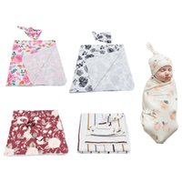 Blankets & Swaddling Born Swaddle Wrap Hat Set Baby Pure Cotton Floral Printing Receiving Blanket H055