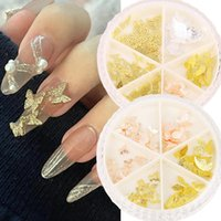 Nail Art Decorations 6 Grids 3D Metal Butterfly Rhinestones Glitter Sequins Decoration DIY Tips Manicure Jewelry Accessories