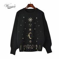 Дизайн звездного неба вышивка свитер высокого класса осень зима свободные джемпер женские пуловер вязание верхней взлетно-посадочной полосы C-055 210522