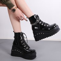brand new black ankle boots women new design platform wedges high heels chain womens boots fashion daily woman shoes