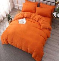 Yatak Setleri Pamuk Dokuma Kraliçe Boyutu Avrupa Tarzı Ev Tasarımcısı Katı Renk Yorgan Kapak Iki Yastık Kılıfları Düz Levha Mektubu Yorgan Yorgan Kapakları