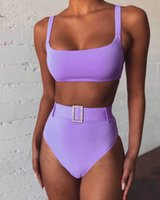Swimwears High Waist Bikini Solid Purple Leg Rhinestone Belt Swimsuit Beach Bathing Suit Push Up Padded Two Piece Swimwear Biquini
