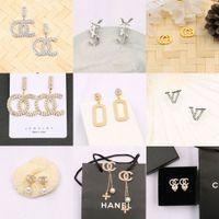 Type421-Type435 18K Gold Plaqué Marque Designer Lettres Stud Crystal Crystal Géométrique Femmes Strass Perle Boucle d'oreilles Mariage Partie de mariage JOIERLY Accessoires