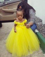 Sarı Tül Prenses Çiçek Kız Elbise Kat Uzunluk Eşleştirilmiş Kanat Aplike Sheer Kız Doğum Günü Pageant Abiye İlk Communion Elbise