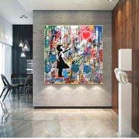 ストリート落書きバンクシーポップキャンバスヌードレスポスターウォールアートリビングルームの家の装飾(フレームなし)
