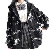 Women's Jackets Vintage blusão com capuz bolso moletom roupas femininas fashion zíper up urso fofo casaco de outono solto harajuku top XK8K