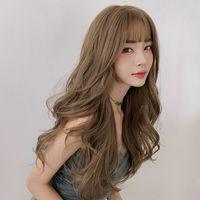 Фабрика оптом парик женские длинные волосы комиксы чтание интернет-известное круглое лицо большая волна пушистая полноценная головка парик длинные вьющиеся волосы