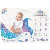 Baby Born Milestone Blanket Month Photos Take White Blue Pink Beauty Fish Background Child Kids Cover Flannel Blankets Mermaid for Boy Girl