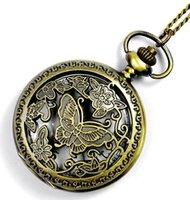 Wholesale 100pcs lot watch vintage pocket Butterfly watch necklace Men Women antique Bronze watch PW078